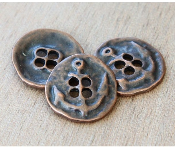 19mm Button Metal Beads, Antique Copper