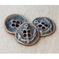 19mm Button Metal Beads, Antique Copper, Pack of 5