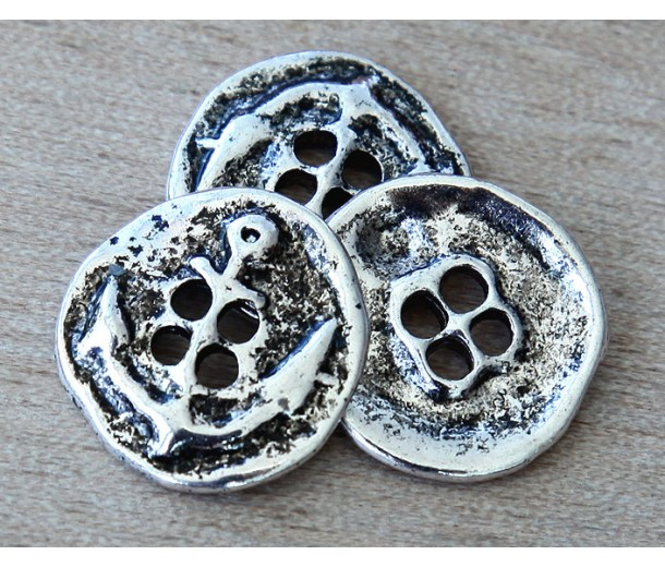 19mm Button Metal Beads, Antique Silver, Pack of 5