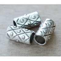 16x9mm Thick Tube Beads With Diamond Pattern, Antique Silver, Pack of 6