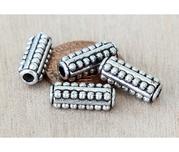 14mm Beaded Column Round Beads, Antique Silver