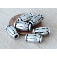 10x5mm Corrugated Tube Beads, Antique Silver
