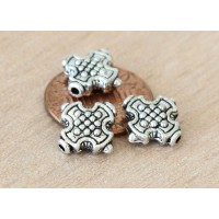 10mm Maltese Cross Beads, Antique Silver, Pack of 10