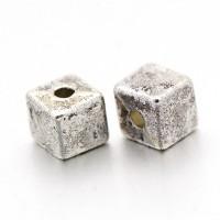 4mm Simple Cube Beads, Antique Silver, Pack of 50