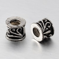 7x8mm Scroll Barrel Beads, Antique Silver, Pack of 10