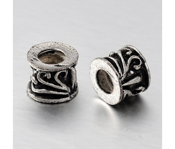 7x8mm Scroll Barrel Beads, Antique Silver