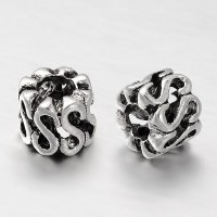 9x7mm S Design Barrel Beads, Antique Silver