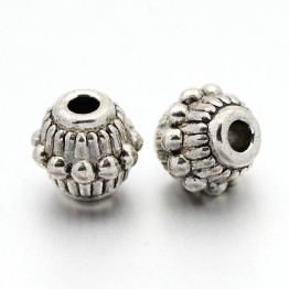 7mm Beaded Bicone Beads, Antique Silver