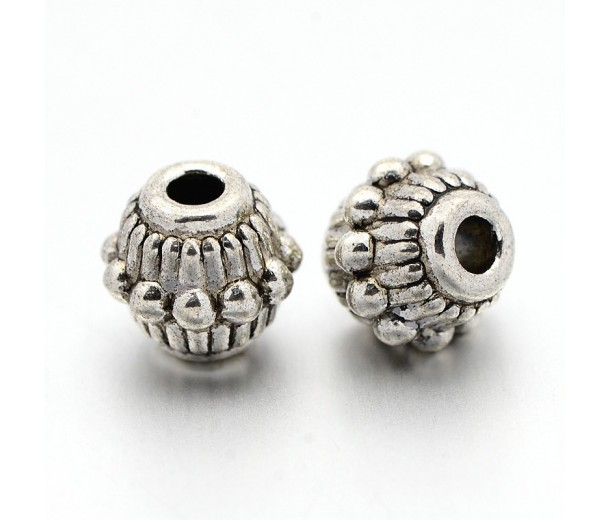 7mm Beaded Bicone Beads, Antique Silver, Pack of 20
