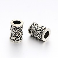 6x9mm Vine Column Beads, Antique Silver, Pack of 3
