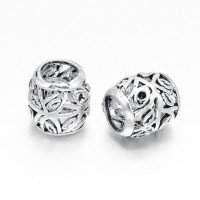 11mm Floral Hollow Barrel Beads, Antique Silver