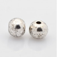 6mm Round Spacer Beads, Antique Silver, Pack of 20