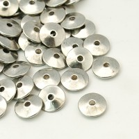 11mm Saucer Disk Spacer Beads, Antique Silver, Pack of 10