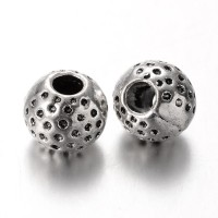 10mm Textured Round Beads, Antique Silver
