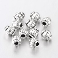 4mm Lantern Beads, Antique Silver, Pack of 50