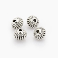 8x6mm Fluted Bicone Beads, Antique Silver, Pack of 10