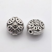 11mm Ornate Flat Round Beads, Antique Silver
