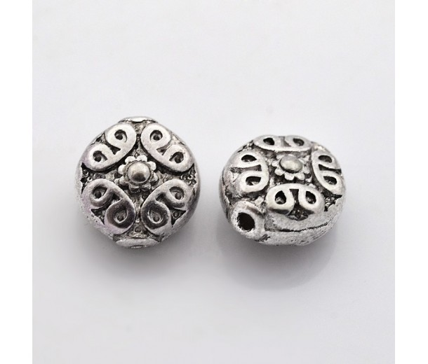 11mm Ornate Flat Round Beads, Antique Silver, Pack of 5