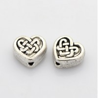 9mm Flat Celtic Heart Beads, Antique Silver, Pack of 5