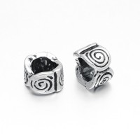 9x6mm Large Hole Spiral Rondelle Beads, Antique Silver, Pack of 5