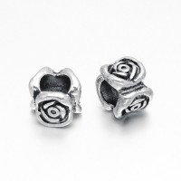 8x7mm Large Hole Flower Rondelle Beads, Antique Silver