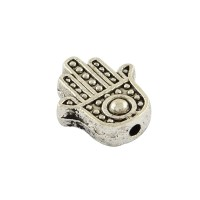12mm Flat Hamsa Hand Beads, Antique Silver