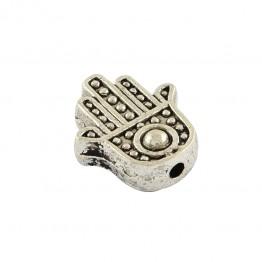 12mm Flat Hamsa Hand Beads, Antique Silver