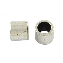 7mm Large Hole Smooth Tube Beads, Antique Silver