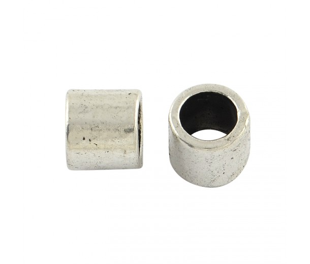 7mm Large Hole Smooth Tube Beads, Antique Silver, Pack of 20