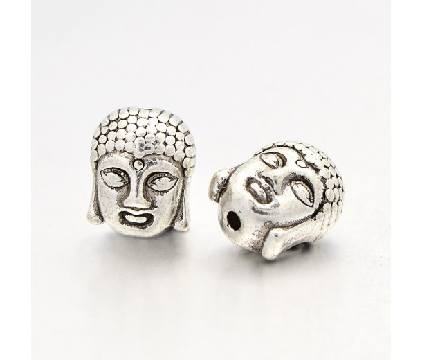 11mm Buddha Head Beads, Antique Silver, Pack of 5