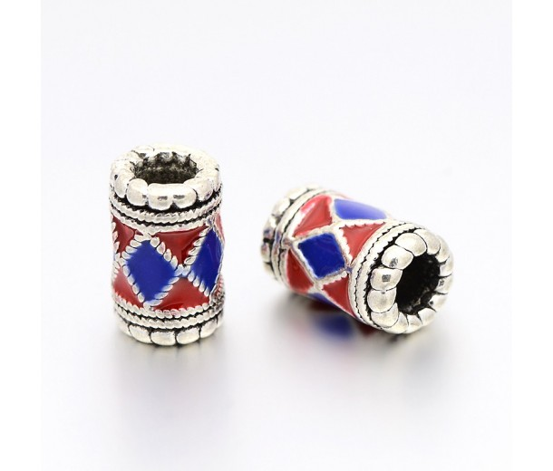 12mm Colorful Enameled Column Beads, Antique Silver