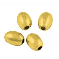 5x4mm Simple Oval Beads, Gold Tone