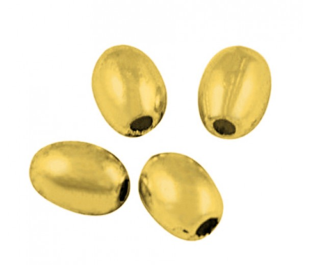5x4mm Simple Oval Beads, Gold Tone, Pack of 50