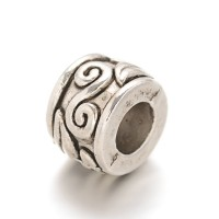 9x7mm Large Hole Swirl Rondelle Beads, Antique Silver
