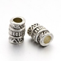 7mm Tribal Style Column Beads, Antique Silver, Pack of 20