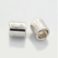 8mm Large Hole Smooth Tube Beads, Antique Silver, Pack of 10