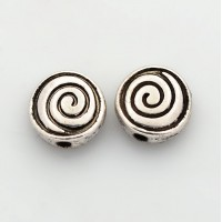 8mm Flat Round Spiral Beads, Antique Silver