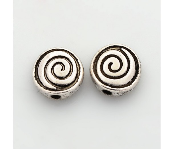 8mm Flat Round Spiral Beads, Antique Silver, Pack of 10