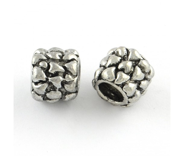 10mm Dragon Scale Barrel Beads, Antique Silver