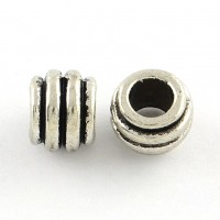 8x6mm Striped Barrel Beads, Antique Silver, Pack of 20