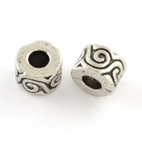 10mm Spiral Wave Barrel Beads, Antique Silver