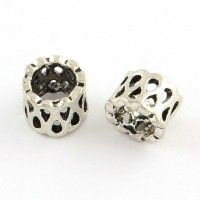 5mm Cutout Barrel Beads, Antique Silver, Pack of 20