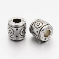 6mm Circle Barrel Beads, Antique Silver, Pack of 10
