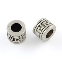 8mm Greek Key Barrel Beads, Antique Silver