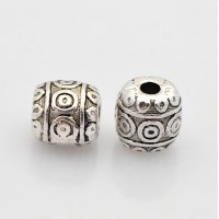 6mm Tibetan Style Barrel Beads, Antique Silver