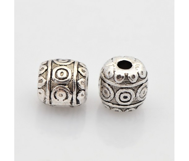 6mm Tibetan Style Barrel Beads, Antique Silver, Pack of 10