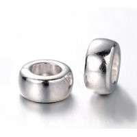 7x4mm Mini Rondelle Spacer Beads, Silver Tone