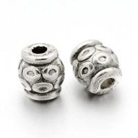 6mm Circle Design Barrel Beads, Antique Silver