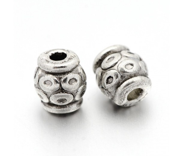 6mm Circle Design Barrel Beads, Antique Silver, Pack of 10