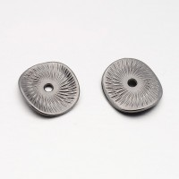 15mm Textured Disk Beads, Gunmetal, Pack of 20